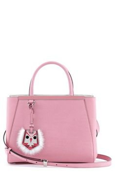 Fendi 'Petite 2Jours' Leather Shopper with Genuine Mink Fur & Genuine Fox Fur Bird Charm available at #Nordstrom