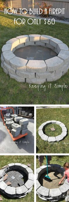 Simple $60 DIY Stone Firepit #outdoorfirepit