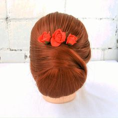 Small bridal hair pins with red rose. Floral hairpiece for bride or bridesmaid. - Small bridal hair pins with red rose will be a delicate addition to your holiday hairstyle. Easy To Do Hairstyles, Holiday Hairstyles, Bride Hairstyles, Braided Half Updo, Messy Bun With Braid, Wedding Hair Pins, Hairstyle Wedding, Flowers In Hair, Small Flowers