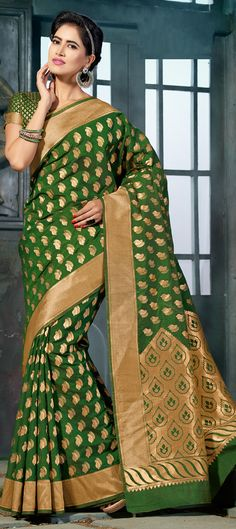 Buy Now : Rs. 3,600 /- http://www.indianweddingsaree.com/product/182366.html Green color family Traditional #Sarees with matching unstitched blouse.