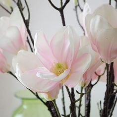 REAL TOUCH artificial flowers - Lotus Magnolia 3 stems - Pink, Light Pink, White: Amazon.co.uk: Garden & Outdoors
