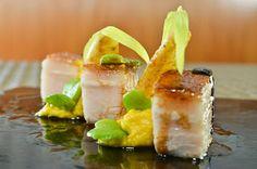 Pork belly, corn puree and smoky salt.   David Faure e Noelle Corn  1 Michelin Star