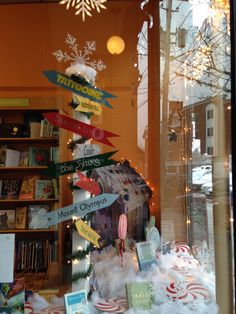 """""""You can get there from here.""""  Holiday window display for Water Street Bookstore/Time of Wonder Bookstore in Exeter, NH."""
