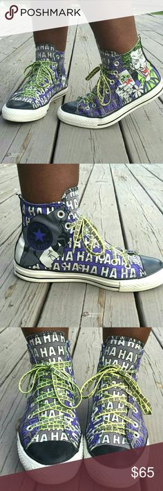 """SALE Batman v. Joker Converse Give your best maniacal laugh and ask, """"You wanna know how I got these scars?"""" with these funky Converse! Size 8, standard high-top Converse. The body of the shoe is grey and purple with The Joker on the outside of each and Batman on the insides. Toe tips are black while the base is white with a black stripe. Laces are a yellow-green with HAHAHAHA printed on them. Worn a couple times, but still in great condition! Will you be the hero Gotham needs or channel…"""
