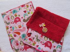 2 Cute Pink Animals Baby Burp Cloths - Cotton Fabric and Chenille -  Girl Baby Gifts - Flowers Bees Owls Lady Bugs Elephants by SweetLibertyStudio on Etsy