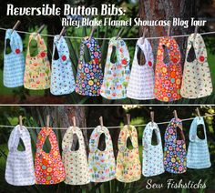 RBD Flannel Showcase Blog Tour: Reversible Button Bibs | Fishsticks Designs Blog