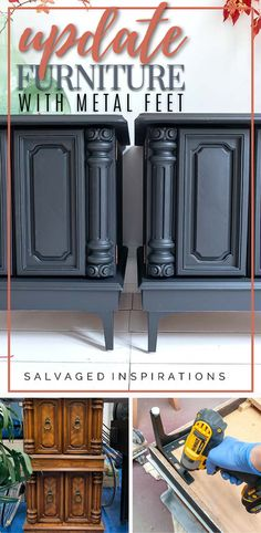 Update Furniture with Metal Feet | Easy Furniture Makeover Tutorial | Salvaged Inspirations #siblog #salvagedinspirations #paintedfurniture #furniturepainting #DIYfurniture #furniturepaintingtutorials #howto #furnitureartist #furnitureflip #salvagedfurniture #furnituremakeover #beforeandafterfurnuture #paintedvintagefurniture #roadsiderescues #chalkpaint #chalkpaintedfurniture #diyprojects #diyfurnituremakeover #furniturerestoration #furnitureideas Salvaged Furniture, Furniture Repair, Chalk Paint Furniture, Furniture Legs, Furniture Restoration, Furniture Makeover, Vintage Furniture, Cabinet Makeover, Wood Pieces