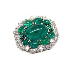 Art Deco cabochon emerald and diamond cluster brooch by Cartier, Paris c.1935