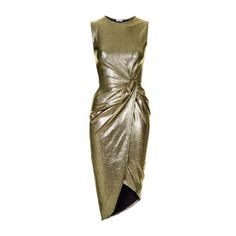 Metallic Knot Dress by Wal G (£38) ❤ liked on Polyvore featuring dresses, gold, topshop dresses, knot dress, brown dress and metallic dress