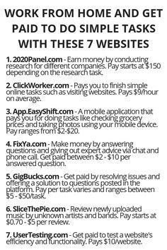 Work From Home And Get Paid To Do Simple Tasks With These 7 Websites - earn money from home - Ways To Earn Money, Earn Money From Home, Earn Money Online, Online Jobs, Way To Make Money, Money Saving Tips, Earning Money, Quick Money, Life Hacks Websites