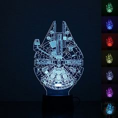 Leegoal(TM) LED Night Light, Star Wars Millennium Falcon Lamp Room Home Decoration Gifts Multi 7 Color Charge Button LED Desk Table Light Lamp Bedroom * Continue to the product at the image link. (This is an affiliate link)