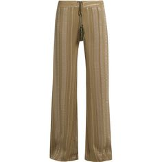 Zeus + Dione Alcestes geometric-jacquard silk-blend trousers (€225) ❤ liked on Polyvore featuring pants, khaki, loose pants, loose khaki pants, loose fitted pants, brown pants and draw string pants