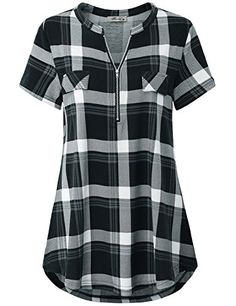 online shopping for Finice Women's Zip V Neck Short Sleeve Casual Plaid Shirt from top store. See new offer for Finice Women's Zip V Neck Short Sleeve Casual Plaid Shirt Plaid Tunic, Plaid Shirts, Tunic Shirt, Shirt Blouses, Casual Shirts, Tunic Tops, Polo Shirt, Work Shirts, Work Casual