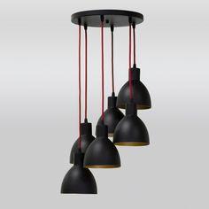 lustre pendente preto sala jantar ø30 luminária gda Hanging Chandelier, Black Chandelier, Dining Room, Ceiling Lights, Lighting, Pendant, Gabriel, Nova, 1