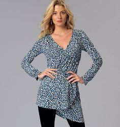 Misses' Mock-Wrap Tops, K4085 http://kwiksew.mccall.com/k4085-products-48942.php?page_id=3013 #kwiksewpatterns