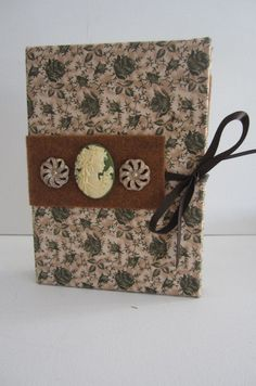 Green and Tan Floral Pattern with Cameo Earring by TheElegantLady, $15.00