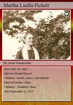 My Mother's Family History: Fearless Females - Hoover Family History Trading Card