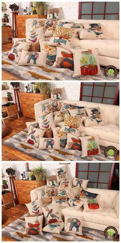 Mezcla de algodón de lino nuevo diseño impreso cojín Covers sofá funda de almohada ropa de cama de cojines decorativos almohada 45 cm * 45 cm en Fundas de Cojines de Casa y Jardín en AliExpress.com | Alibaba Group