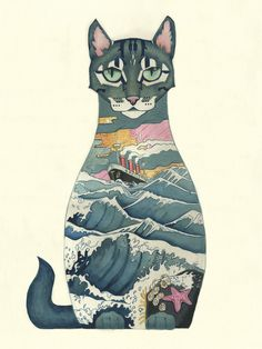 Gorgeous Watercolor Illustrations Of Animals Wearing Their Natural Habitats. Cat