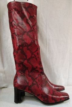 NEW NATURALIZER UPTIGHT RED Faux Snakeskin Vegan Leather High Heel Boot Shoe RED 8.5 W