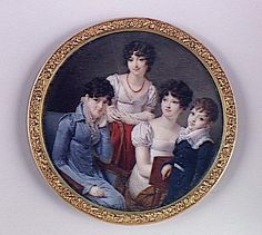 Portrait de famille 1810. [French. Left, a mass of medium-sized defined curls with no visible parting. Center and right, off-center parts (one left and one right) that extend to the crown. Hair is smooth but waved away from the part, with similar curls. None have a visible bun. Hair may be cut short all around.]