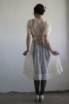 RESERVED  1900s Victorian Dress  Sheer Swiss Dot by VeraVague, $385.00