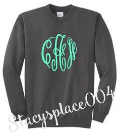 monogrammed sweater, monogrammed sweat shirt, monogrammed shirt, personalized sweater, charcoal sweater