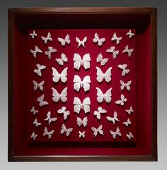 Delicate Butterflies Cast in Glass Dust by Michael Crowder. The artist forms the brittle insects using a technique called pâte de verre that involves the fusion of tiny glass particles.