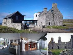 Located on the tiny Isle of Coll, off the west coast of Scotland, this new home is built using the ruins of The White House, as it was described in travel narratives of the 18th-century writers Boswell and Johnson.     and completed in 2010. The original structure sports a prominent distinctive crack that makes quite a dramatic sight at night when it's illuminated from inside.