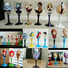 1 Hand Painted Wine Glass: Your choice of character.