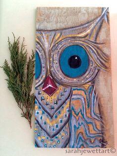 "Owl, ""kissy lips"", painting by sarahjewettart on Etsy https://www.etsy.com/listing/251872064/owl-kissy-lips-painting"