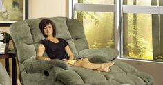 Jackpot Reclining Chaise in Sage, Chocolate, or Camel Microfiber Fabric by Catnapper  ON SALE $599  This Reclining Chaise from ... Reclining Sectional, Recliner, Cinema Center, Chocolate Color, Home Cinemas, Sage, Plush, Cushions, Fabric