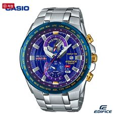 Casio Edifice Blue Men's Watch Date Alarm Dual dial World Time EFR-550RB-2A #Casio #Casual