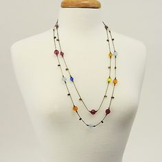 "Flower Girl  Length: 32""  Multi Crystals, Bronze Chain, Layered Necklace  $31.00  http://www.thebluezebra.com  shipping to Canada and the USA IS FREE!!"