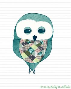 Trotsky The Patchwork Owl Art Print- A Cute Quirky Owl Illustration In Teal With Green And Navy Accents, Owl Nursery Art, Children's Room. $18.00, via Etsy.