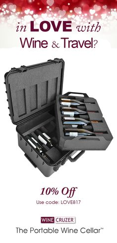 In Love with Wine & Travel?  Receive 10% Off the 8 Pro WineCruzer! Visit www.winecruzer.com Code: LOVE817 WineCruzer - The Portable Wine Cellar™  The 8 Pro Wine Carrier by WineCruzer - is a reusable carrying case with custom interior designed to hold up to 8 bottles of your favorite vintages.  The interior is lined with closed cell, thermally insulated foam that hugs bottles and protects against shock and breakage. Offer valid online only on PN: WINECRUZER-8-PRO now through 02/15/17.