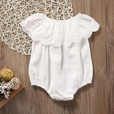 Sewing Baby Girl Pretty Ruffle Collar Off Shoulder Romper in White for Toddler Girl - Newborn Boy Clothes, Newborn Outfits, Cute Baby Clothes, Toddler Outfits, Baby Boy Outfits, Kids Outfits, Modern Baby Clothes, Summer Clothes, Fashion Kids