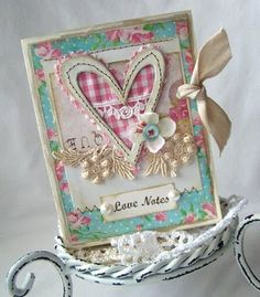 heart and lace appliqué note: white dots; fabric matches card stock; little love not print out framed by pearls
