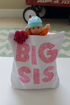 Oh, what a sweet idea. Big sister bags given when older siblings meet new baby. Big Sister Bag, Big Sister Gifts, Second Baby, 2nd Baby, Baby Boy, New Sibling Gifts, Baby Coming, Hospital Bag, Baby Time
