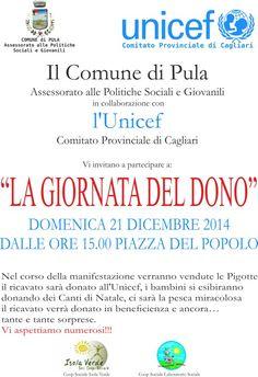 """Giornata del Dono"""", organizzata dal Comune di Pula in collaborazione con l'Unicef."""