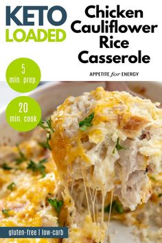 Ketogenic Recipes, Low Carb Recipes, Cooking Recipes, Ketogenic Diet, Health Recipes, Milk Recipes, Soup Recipes, Cauliflower Rice Casserole, Bacon