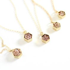 Tiny and sparkly. This sweet little rose gold druzy hexagon necklace is the perfect addition to any outfit! Rose gold druzy pendant measures approx : 10 mm Comes on your choice of length gold filled chain. shopping for bridesmaids? Bridesmaids are buy 4 get 1 free