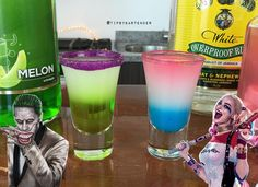 HARLEY QUINN SHOT *Blue Layer: Blue Curacao Syrup Pina Colada   *White Layer…