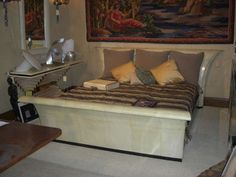 Art Deco Parchment Sleigh Bed Attributed To Guglielmo Ulrich
