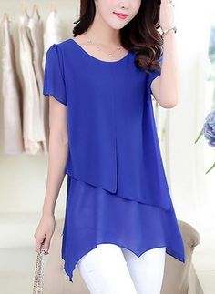 Product Name:Solid Asymmetric Hem Chiffon Short Sleeve T-ShirtSleeve:Short SleeveOccasion:Casual / DateSeason:SummerEmbellishment:Asymmetric HemMaterial:ChiffonCollar&neckline:Round NeckPackage Included:Top / To Wash:H Trendy Tops For Women, Blouses For Women, Casual Skirt Outfits, Cheap Blouses, Women's Blouses, Mode Style, Ladies Dress Design, Chiffon, Tunic Tops