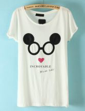 White Short Sleeve Mickey Mouse Print T-Shirt