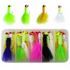 RG 24pcs/box 3 Size Mixed Colors Fishing Crappie Jigs Lures Kit Fishing Lead Head Hook with Feather Marabou Chenille for Bass Pike Walleye Ice Fly Fishing  https://fishingrodsreelsandgear.com/product/rg-24pcs-box-3-size-mixed-colors-fishing-crappie-jigs-lures-kit-fishing-lead-head-hook-with-feather-marabou-chenille-for-bass-pike-walleye-ice-fly-fishing/  1. Come with the size 1/32oz, 1/16oz, 1/8oz, 8pcs for each size, total 24pcs in a random free box 2. Random size and color