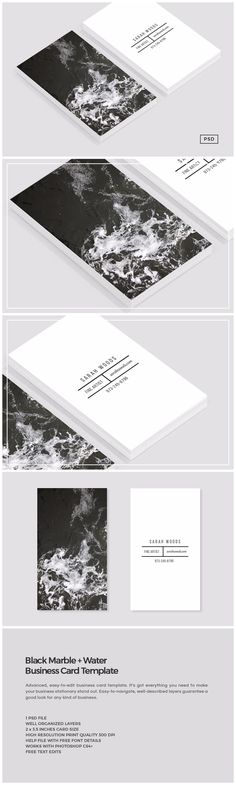 Black Marble Business Card Template by The Design Label on @creativemarket
