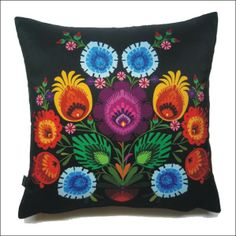 I love bold colors on a black background. New Polish Folk Design. Slavic Tattoo, Polish Embroidery, Folklore, Polish Folk Art, Scrap, Indigenous Art, Fiber Art, Tapestry, Throw Pillows