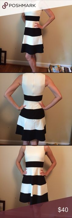 Ann Taylor dress Black  and white color block midi dress from Ann Taylor. Excellent condition. Selling because a little too big for me Ann Taylor Dresses Mini